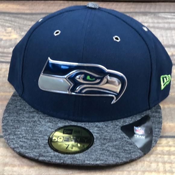 NEW ERA 59Fifty Seahawks Fitted Cap Baseballcap Basecap NFL-Cap Flat Brim